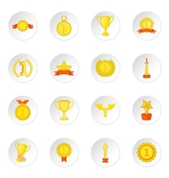 Trophy award icons set cartoon style vector image