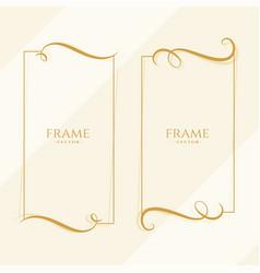 two elegant golden floral frame template vector image