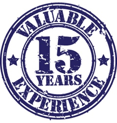 Valuable 15 years of experience rubber stamp vector image