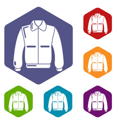 Varsity jacket icons hexahedron vector
