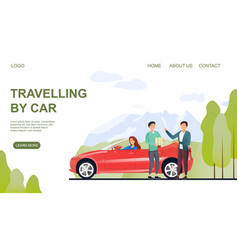 Web page template on travelling car vector