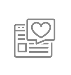 website with heart in speech bubble line icon vector image