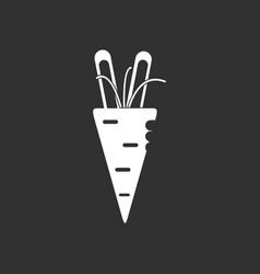 White icon on black background turnip plant vector