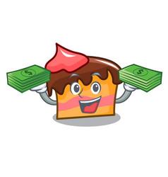 With money bag sponge cake mascot cartoon vector