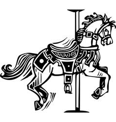 Wooden Carousel Horse vector