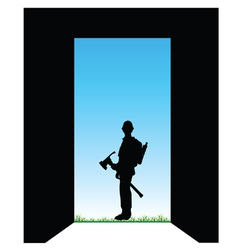 worker front of the door color vector image
