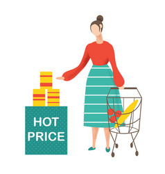 Young woman doing shopping and choosing products vector