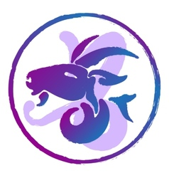 zodiac sign Capricorn watercolor vector image