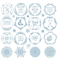 Christmasnew year decorwinter circle frames set vector