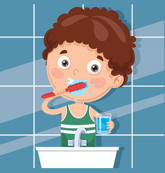kid brushing teeth vector image