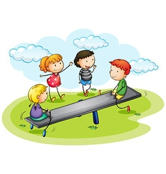 Kids playing seesaw in the park vector