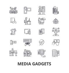 media gadgets newspaper news press social vector image