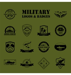 Military and armored vehicles logos and badges vector image vector image