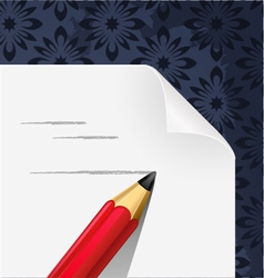 paper blank with pencil hand draw vector image vector image