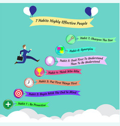 7 habits - business man jumping over icons in the vector image vector image