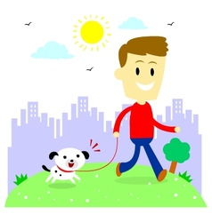 Man Taking His Puppy for a Walk at Park vector image