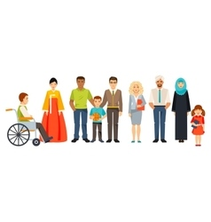 Multicultural society Group of different people vector image vector image