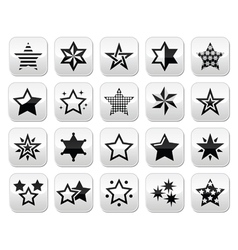 Stars black buttons with reflection isolated on wh vector image vector image