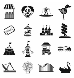 Amusement park black simple icons set vector image