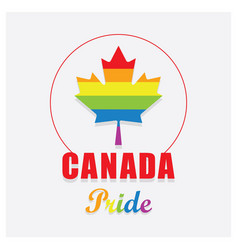 canada pride maple leaf emblem icon on off white vector image