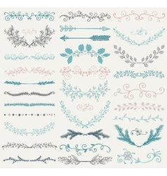 Color hand drawn dividers branches swirls vector
