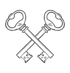 Crossed hand drawn keys design element vector image vector image