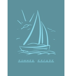 hand drawn background with sailboat eps8 vector image