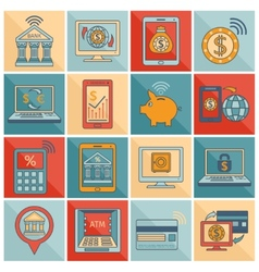 Mobile banking icons flat line vector image