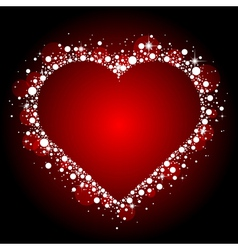 red frame with shiny heart vector image vector image
