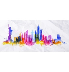 Silhouette overlay city New york vector image vector image