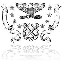 doodle us military insignia navy vector image vector image