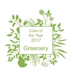 Greenery trendy background with frame vector image vector image