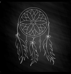 hand to draw a dreamcatcher vector image