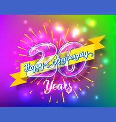 happy 20th anniversary glass bulb numbers set vector image