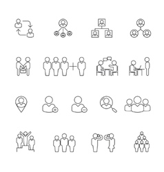 Human management icons Resource people thin line vector image vector image