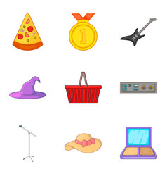 street concert icons set cartoon style vector image vector image