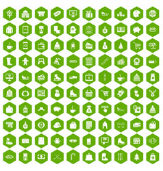 100 winter shopping icons hexagon green vector