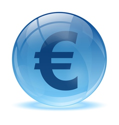 3D glass sphere and euro icon vector