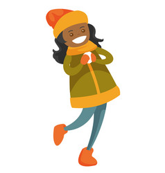 african-american woman playing snowball fight vector image