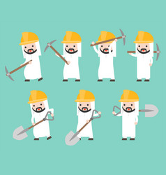 arab businessman and worker helmet holding shovel vector image