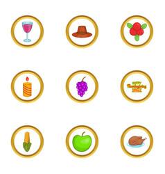 Autumn celebration icons set cartoon style vector