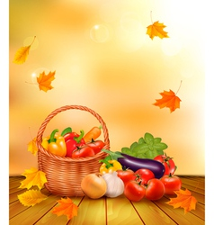 Autumn vegetables background vector