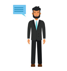 bearded young man in suit cartoon flat vector image