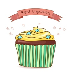 Beautiful card best cupcakes vector image