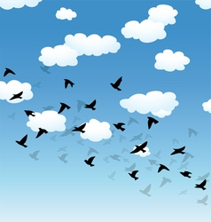 Birds and clouds in the sky vector