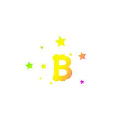 Bitcoin coin with stars abstract falling bitcoin vector