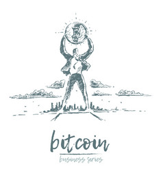 bitcoin earnings a man bitcoin drawn vector image