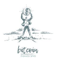 bitcoin earnings a man bitcoin drawn vector image