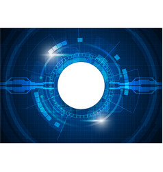 Blue light futuristic digital circle technology vector