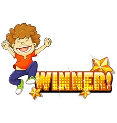 Boy jumping and winner sign vector image vector image
